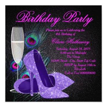 womans purple peacock birthday party invitation