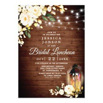 wood blush rose lantern watercolor bridal luncheon invitation