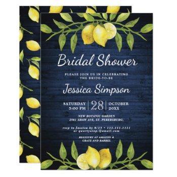 wood & lemons greenery  watercolor bridal shower invitation