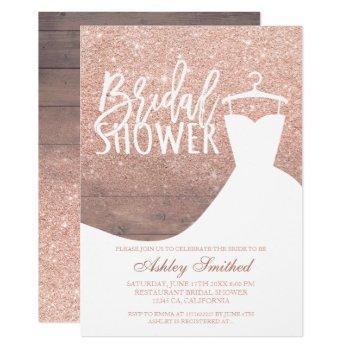 wood rose gold glitter rustic dress bridal shower invitation