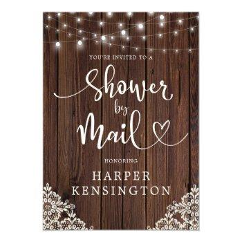 Small Wood String Lights Lace Bridal Shower By Mail Invitation Postcard Front View