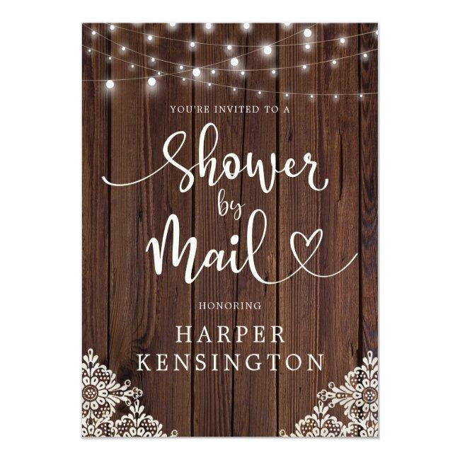 Wood String Lights Lace Bridal Shower By Mail Invitation Postcard
