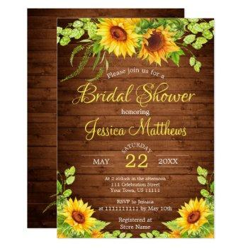 wood sunflowers rustic  bridal shower invitation