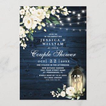 wood white rose lantern watercolor couple shower invitation