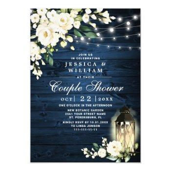 wood white rose lantern watercolor couple shower invitation