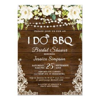 wood & white roses floral i do bbq bridal shower invitation