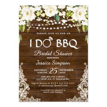 wood & white roses floral i do bbq bridal shower invitation