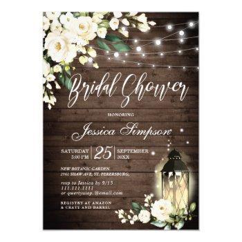 wood & white roses lantern  bridal shower invitation