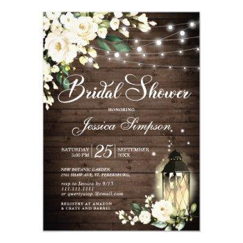 wood & white roses lantern bridal shower invitation