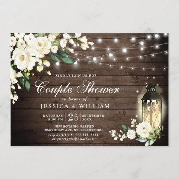 wood white roses lantern rustic couple shower invitation