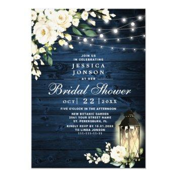 wood white roses lantern watercolor bridal shower invitation