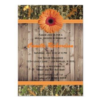 wooden and orange daisy bridal shower invitation