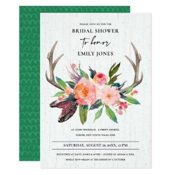 wooden chic boho blush antler floral bridal shower invitation