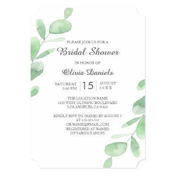 woodland bridal shower. green eucalyptus leaves invitation