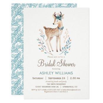 woodland deer bridal shower invitation