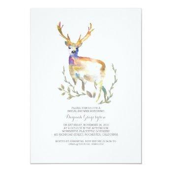 woodland deer rustic bridal shower invitation