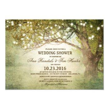 woodland outdoor string lights couples shower invitation