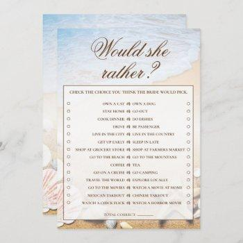 would she rather starfish bridal shower game card