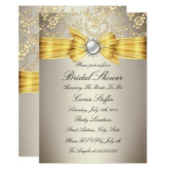yellow bow beige rose bridal shower invitation