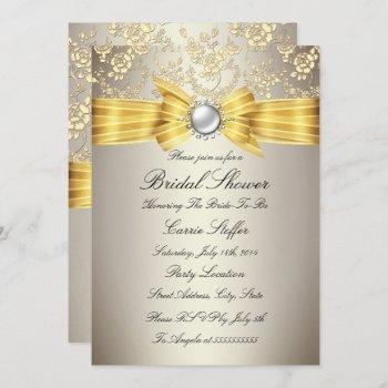 yellow bow beige rose bridal shower invitation