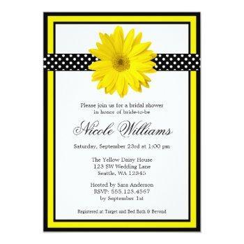 yellow daisy polka dots bridal shower invitations