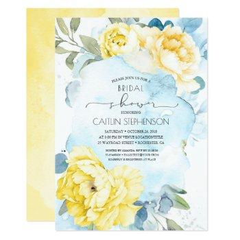 yellow flowers dusty blue greenery bridal shower invitation