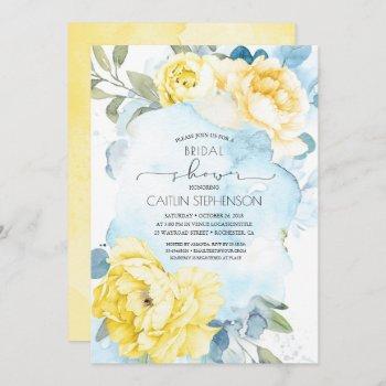 yellow flowers dusty blue greenery bridal shower invitation