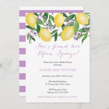 yellow lavender lemons main squeeze bridal shower invitation