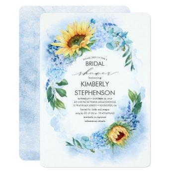yellow sunflower and blue hydrangea bridal shower invitation