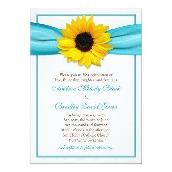yellow sunflower aqua ribbon wedding invitation