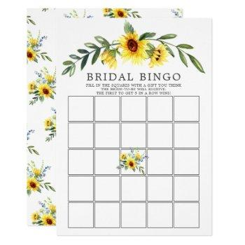 yellow sunflower bingo bridal shower game invitation