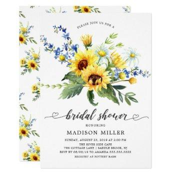 yellow sunflower bridal shower invitation