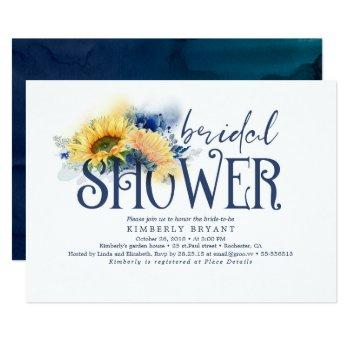 yellow sunflowers elegant navy blue bridal shower invitation