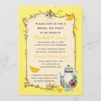 yellow vintage french bridal tea party invitation