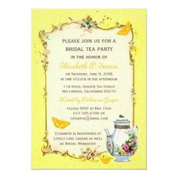 yellow vintage french bridal tea party invitation