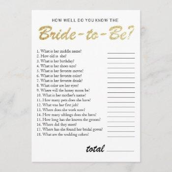 you know the bride bridal shower game gold invitation